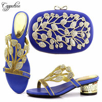 Capputine Free Shipping African Low Heels Shoes And Matching Bag Wonderful Design 2018 Wedding Shoes And