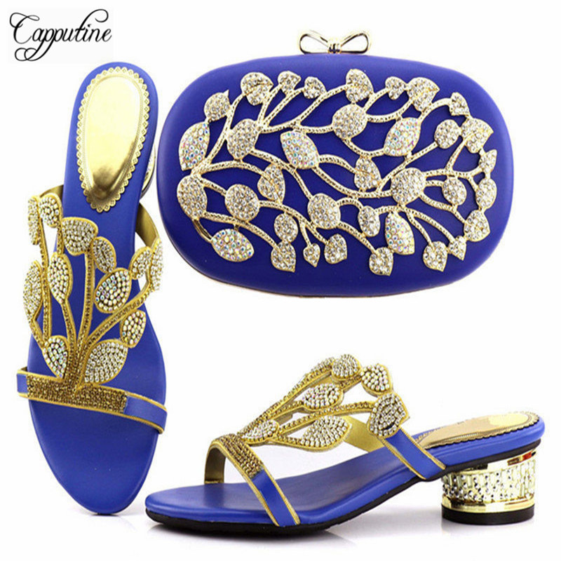 Capputine Free Shipping African Low Heels Shoes And Matching Bag Wonderful Design 2018 Wedding Shoes And Bag Set Fashion Woman 2016 spring and summer free shipping red new fashion design shoes african women print rt 3