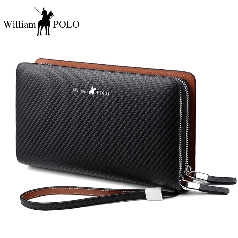 WilliamPOLO Men's clutch wallet genuine Leather Organizer Long Purse Fashion Brand Clutch Bag Card Holder Wallet Knitting design williampolo men s clutch wallet handy strap clutch bag genuine leather long wallet card holder 2018 fashion plaid purse for men