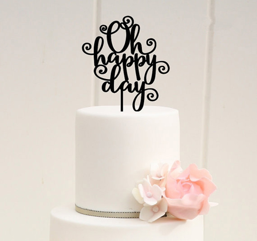 Free Shipping Oh Happy Day Wedding Cake Topper Black Birthday Stand Arcylic Party Accessories