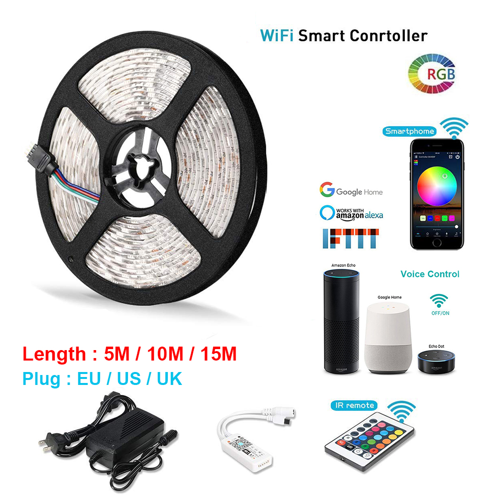 Smart wifi Controller Light Kit 5M 10M 15M RGB LED Lights Strip 5050 Waterproof IP65 Working Android and iOS IFTTT Google Alexa