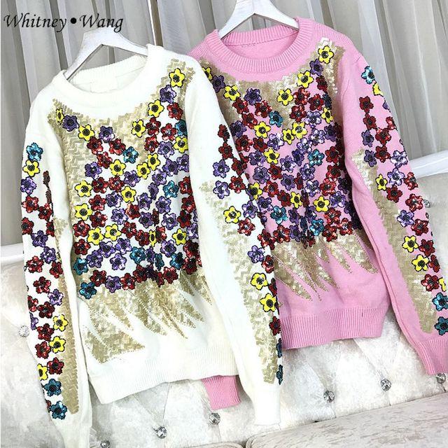WHITNEY Ван 2017 осень-зима уличной моды цветочный Блёстки свитер Для женщин Повседневное джемпер Пуловеры для женщин Тянуть Роковой высокое качество