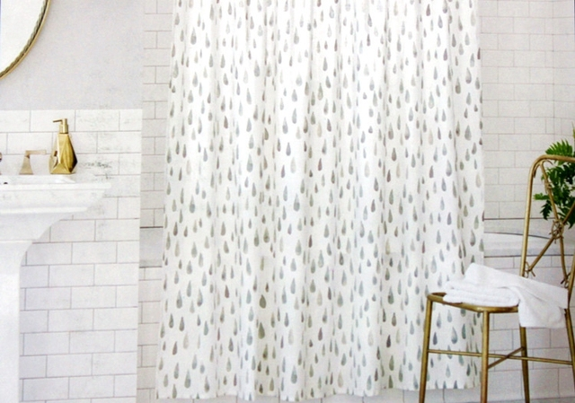 Quick Drying Ink Upscale Linen Wind Rain Shower Curtain Bathroom