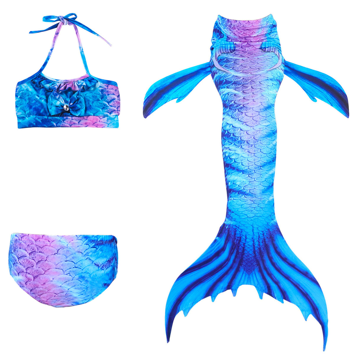 2018 New Children Mermaid Tails The Little Mermaid Ariel Swimsuit Bikini Set Summer Bathing Suit Party Cosplay Costume For Girls