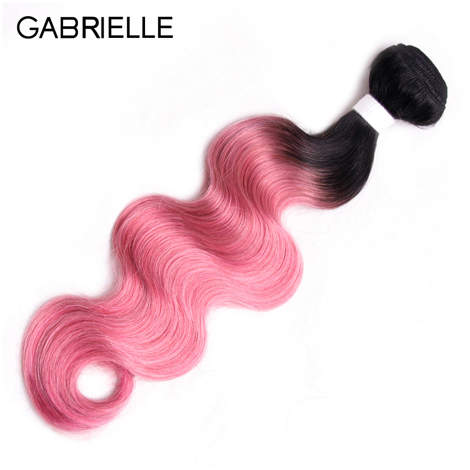 Gabrielle Peruvian Body Wave Bundles OT Rose Pink Non Remy Ombre Two Tone Human Hair Weaves One Piece 10-18 inch Free Shipping