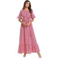 Plus Size Robe Femme Vestidos Verano 2019 Summer Ukraine Plaid Maxi Women Bandage Dress Vestido De Festa Elbise Sukienki Damskie