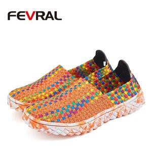 Image 4 - FEVRAL Marke Frau Multi Farben Weichen Freizeit Wohnungen Frau Hand woven Atmungsaktive Schuhe 2021 Mokassins Casual Frau Faulenzer