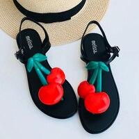 Melissa Brand Cherry 2019 New Women Flat Sandals Melissa Shoes For Women Jelly Sandals Female Jelly Shoes Adulto Mulher