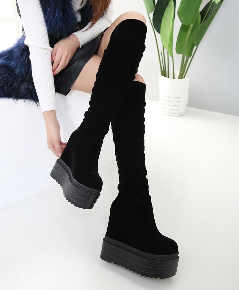 14 cm genou bottes femmes automne cales talon haut plate-forme cuisse bottes hautes