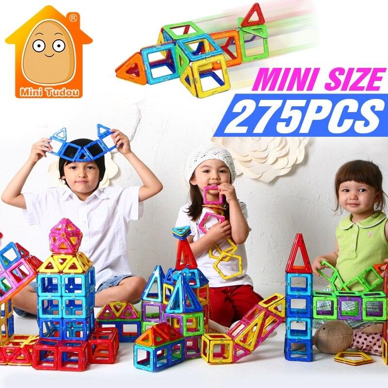 Minitudou 275PCS Mini Magnetic Construction Blocks Kids 3D DIY Models Building Toy Designer Educational Toys For