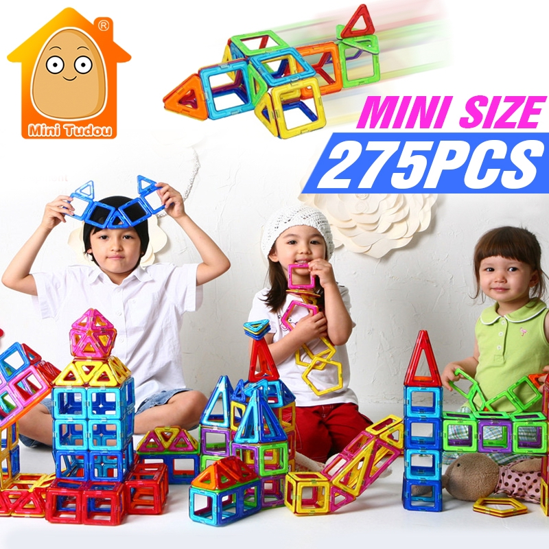 Minitudou 275PCS Mini Magnetic Construction Blocks Kids 3D DIY Models Building Toy Designer Educational Toys For Children minitudou 88pcs kids toys educational magnetic blocks designer 3d diy models construction creative enlighten building toy gifts