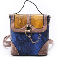 New Snake PU Leather Chains Women Backpack Female Serpentine Fashion Rucksack Designer Ladies Back Bag High