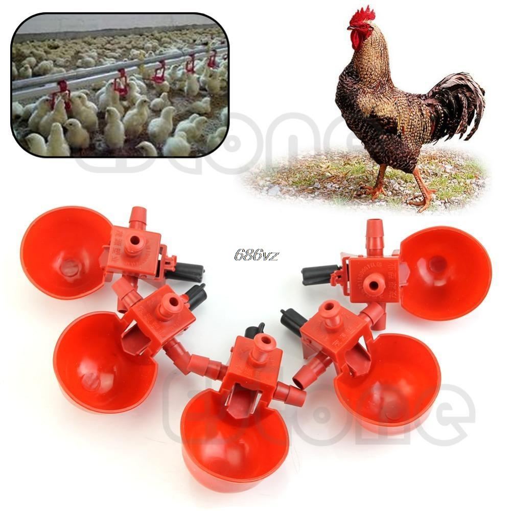5Pcs Automatic Bird Coop Feed Poultry Water Drinking Cups Chicken Fowl Drinker N27 Drop Ship ...