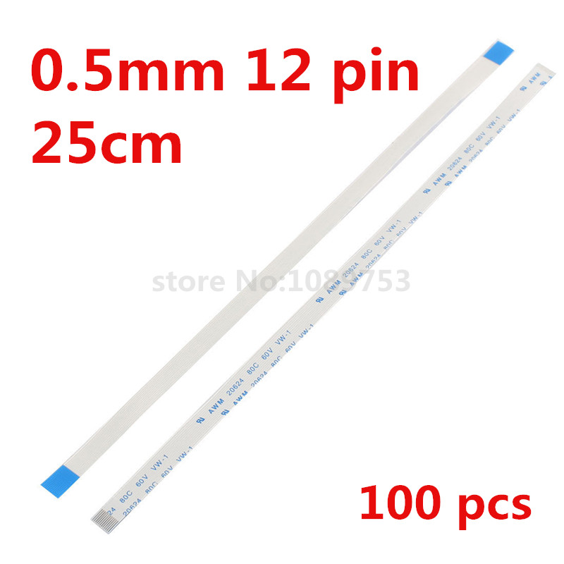 100pcs 25cm-0.5mm-12P AWM 20624 250mm Length 0.5mm Pitch 12Pin Isotropy Flexible Flat Cable FFC / FPC wzsm new ffc fpc flexible flat cable 1 0mm pitch 14 pin 60mm length reverse ffc fpc cable 14pin reverse awm 20624 80c 60v vw 1