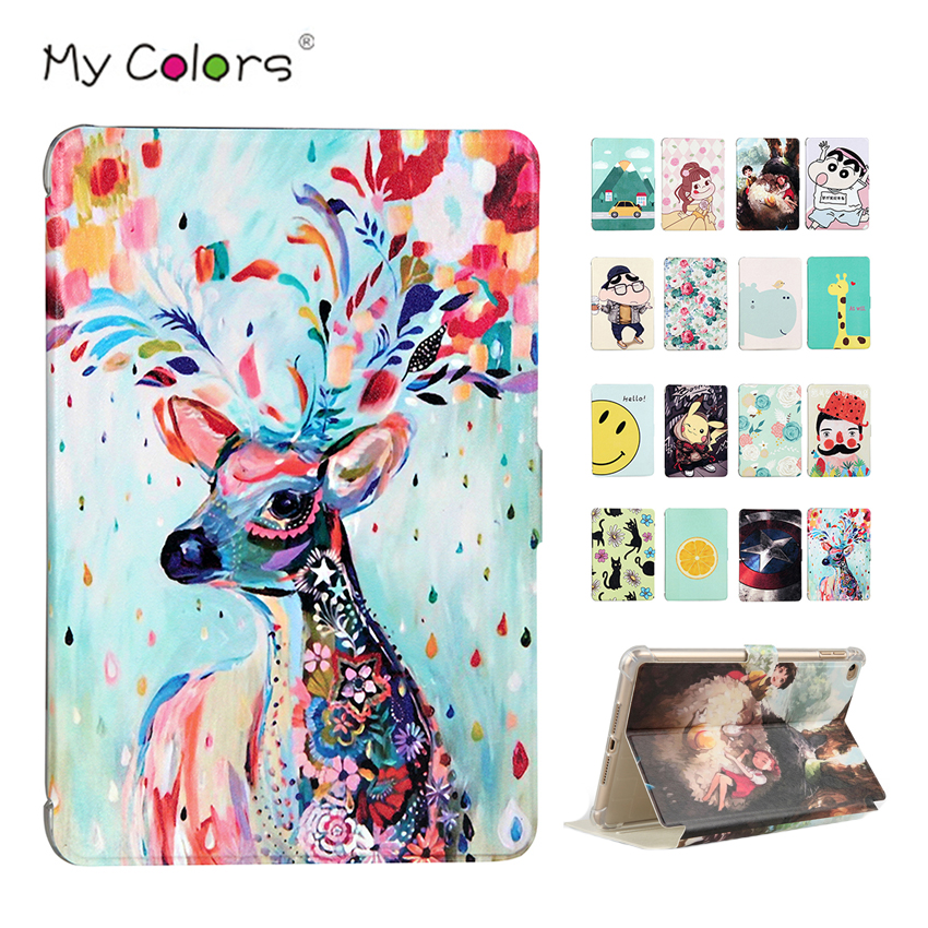 For iPad mini 4 PU Leather Case Cover Painting Protective Stand Skin For Apple iPad mini4 mini 4 7.9 Tablet Smart Fundas +Gift