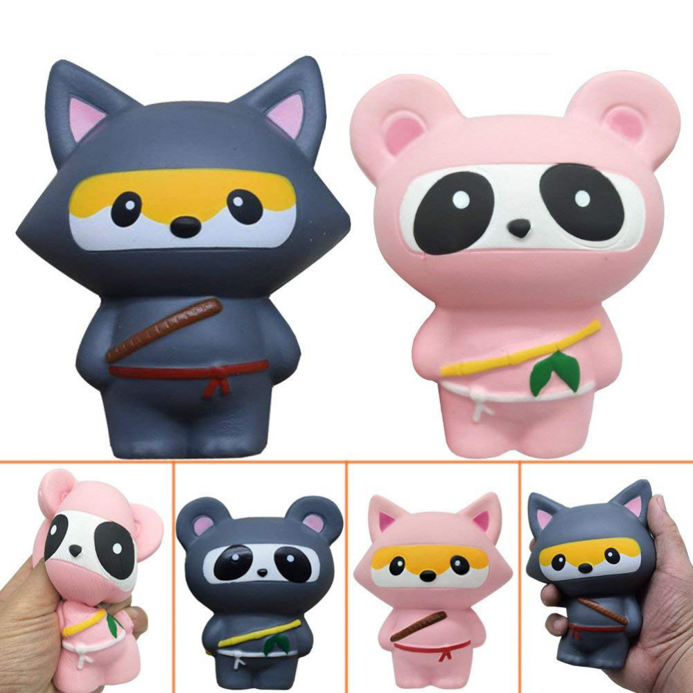 New Animal Jumbo 14CM Kawaii Ninja Squishy Panda/Bear/Fox Bread Soft Slow Rising Fun Kid Toys Sweet Charm Cartoon Cake Wholesale
