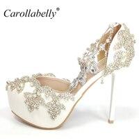 2017 Femmes Chaussures De Mariée Courroie de Cheville de Hauts talons De Bal Chaussures De Mariage Lady Cristal Plates-Formes Blanc Glitter Strass Parti Pompes