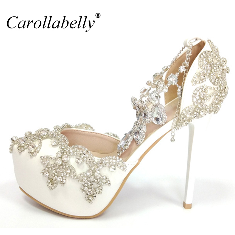 2018 Women Bridal Shoes Ankle Strap High heels Prom Wedding Shoes Lady Crystal Platforms White Glitter Rhinestone Party Pumps sorbern white beading ankle strap cute flowers wedding shoes med heels bridal shoes wholesale women shoes party and evening shoe