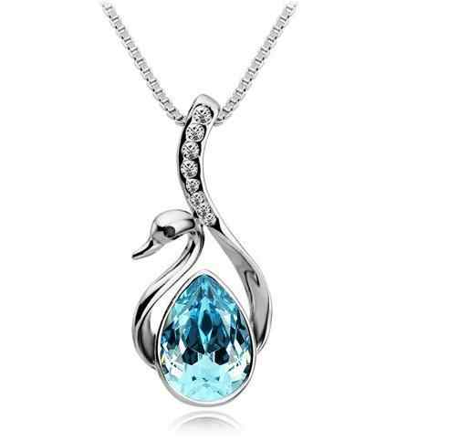 2014 New Spring/Autumn Collection Silver Plated Swan Crystal/Rhinestone Necklaces & Pendants For Women Fashion Jewelry
