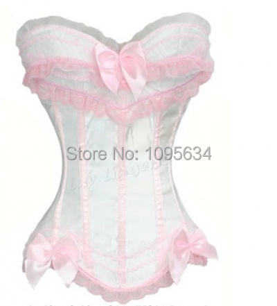 Free Shipping Beautiful Pink White  Corset Bustier  Discount S-6XL In Stock