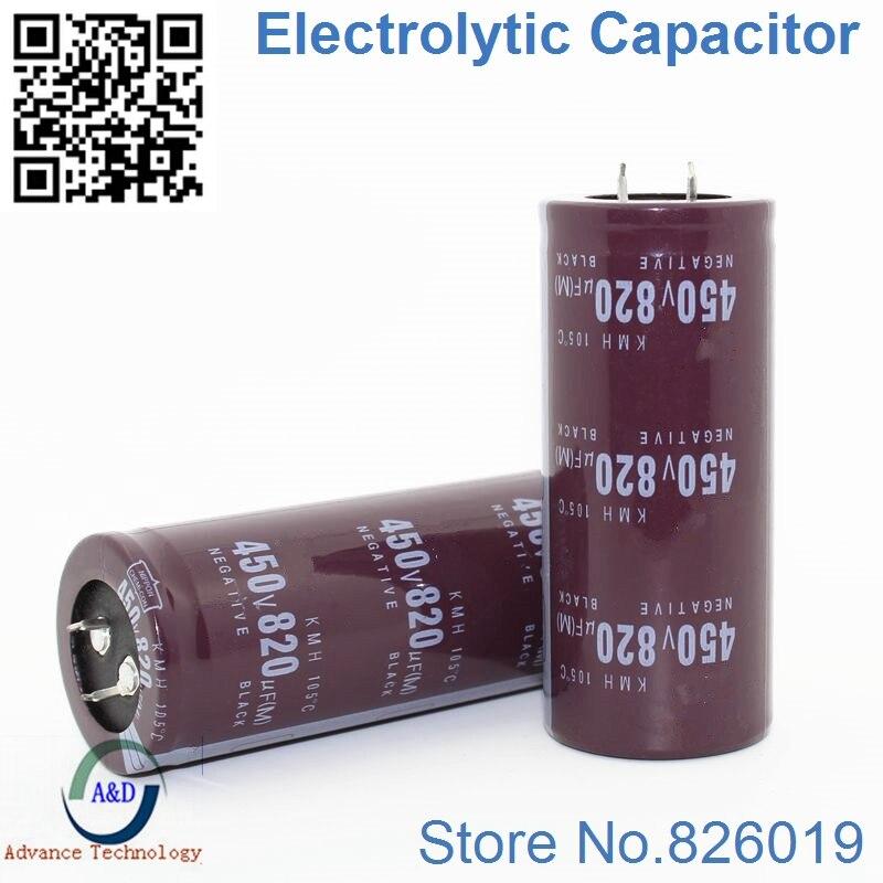 2pcs/lot 450v 820uf Radial DIP Aluminum Electrolytic Capacitors Size 35*60 820uf 450v Tolerance 20%