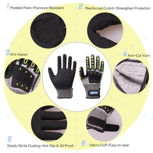 Image 2 - לחתוך עמיד כפפות אנטי השפעה רטט שמן GMG TPR בטיחות עבודה כפפות אנטי Cut הוכחת הלם מכניקת השפעה עמיד