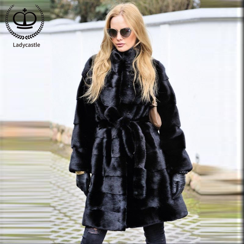 2018 nuevas mujeres de la llegada Real de piel de visón de largo completo de la capa de piel Natural Real de piel de visón Outwear la capa chaqueta caliente MKW-115