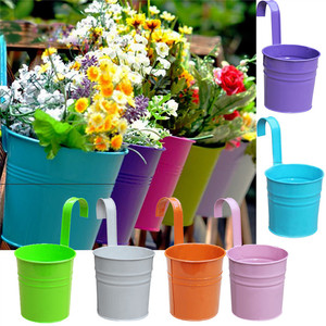 Image 4 - Flower Pots Outdoor Metal Iron Hanging Balcony Planter 6 Pcs Different Colourf succulent can decorative garden