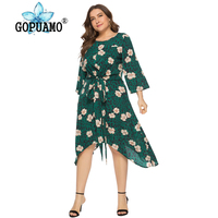 Wipalo Women Plus Size 6XL Leopard Print Floral Dress V Neck Belted Midi Casual Ladies Spring Summer Boho Beach Vestidos