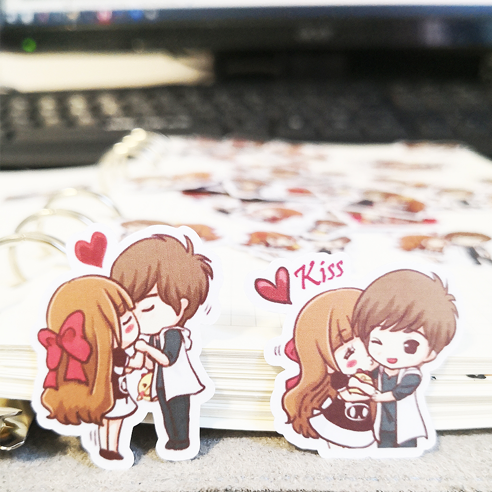 20/40pcs Creative Romantic Sweet Couple Cartoon Sticker Laptop Skateboard Bicycle DIY Waterproof Sticker