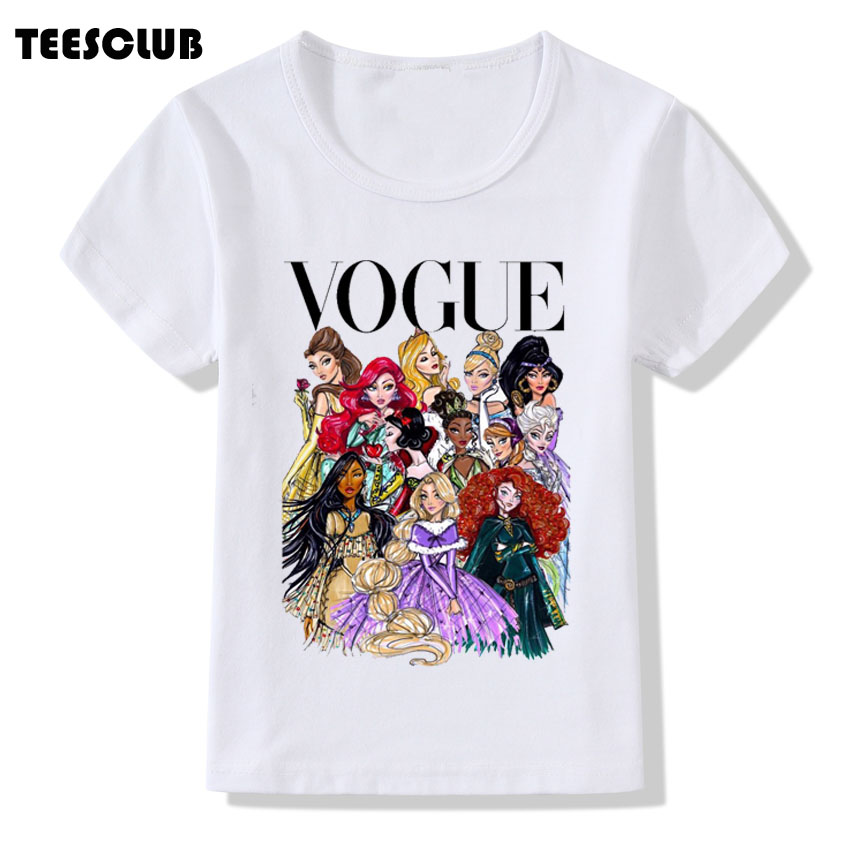Tshirt Kids Clothing Short-Sleeve Vogue Princess-Print Summer New O-Neck Casual Gilrs