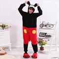 Mais novo Adulto Unisex Velo Pijamas Conjuntos de Pijama Mulheres Com Capuz Animal Bonito Mickey Mouse Dos Desenhos Animados Homewear Sleepwear