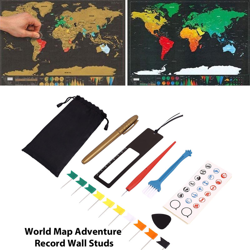 DIY 8pcs/Bag Scratch Pen Set Scratch Map Tool Set Markers Stickers For Scratch Maps Accessories Toys Adventure Maps Tools