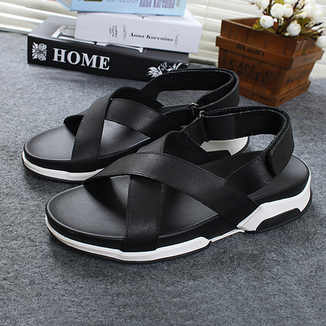 Wedge sandals summer beach white sandals mens sandals genuine leather sandals men cross strap casual thick heels men shoes