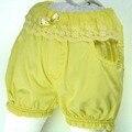 Del Cordón de la cintura pantalones cortos amarillos Arco 4 Botones de Cristal 4 de bolsillo Del Verano Del algodón lindo de Los Niños llevan trajes de bebé MH7009