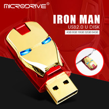 Unidades Flash USB 32GB 64GB marvel vengadores Flash usb palo Hombre de Hierro 8GB 16GB usb 2,0 llave LED Flash luz pendrive memoria stick(China)