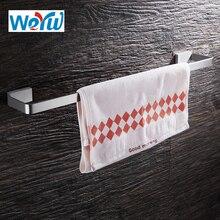 WEYUU Bathroom Accessories SingleTowel Bar 304Stainless Steel Wall-mounted Towel Rack Square Chassis Shelf Brushed Nickel