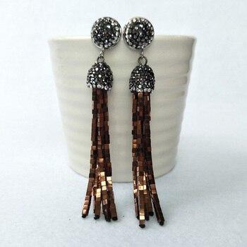 5Pairs Handmade Crystal hematite Tassel Dangle Earrings, Pave Rhinestone Tassel Earring Jewelry For Women Bohemia Earring ER213
