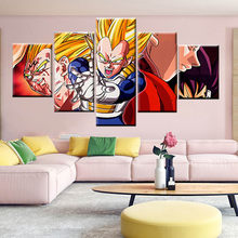 5 paneles de lienzo de pintura Dragon Ball Goku Y Vegeta Super DBZ cuadro nórdico cartel de pared arte moderno decoración del hogar(China)