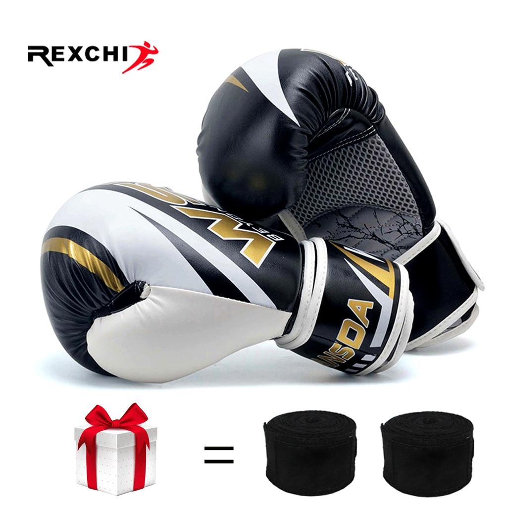 REXCHI PU Kick Boxing Gloves For Men Women Karate Muay Thai Guantes De Boxeo Free Fight MMA Sanda Training Adults Kids Equipment