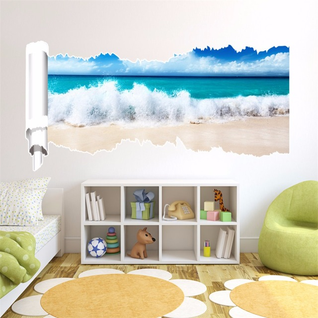 Yanqiao beach wave removable mural stickers wall stickers decal for home and room decoration