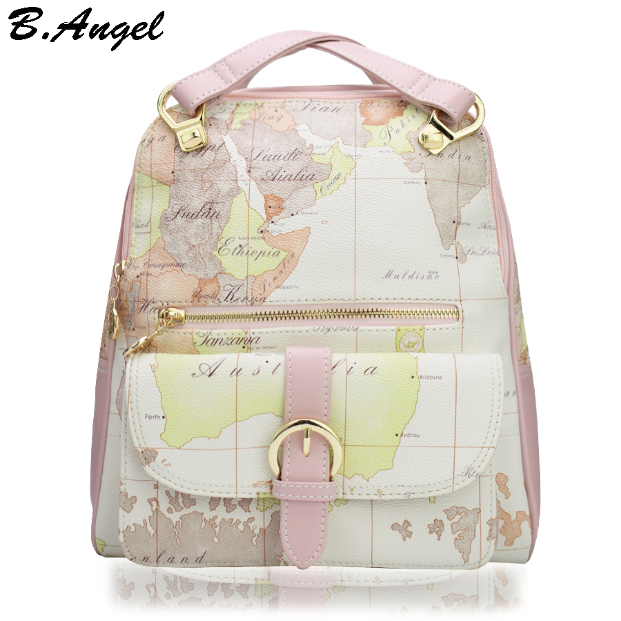 High quality world map backpack fashion women backpack special school backpack leather backpack HC-W-8145  цена и фото