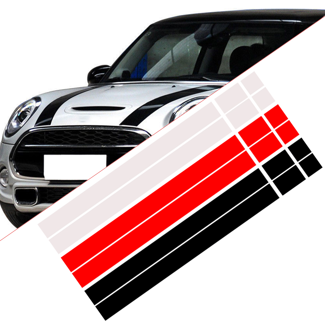 CITALL 2Pcs Car Bonnet Stripes Hood Sticker Cover Vinyl Decal Fit for MINI Cooper R50 R53 R56 R55 Black White Red dWm2754536