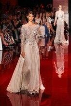 Custom Made Robe De Soiree Longue Champagne Chiffon Applique Beading Long Sleeve Lace Evening Dress Prom