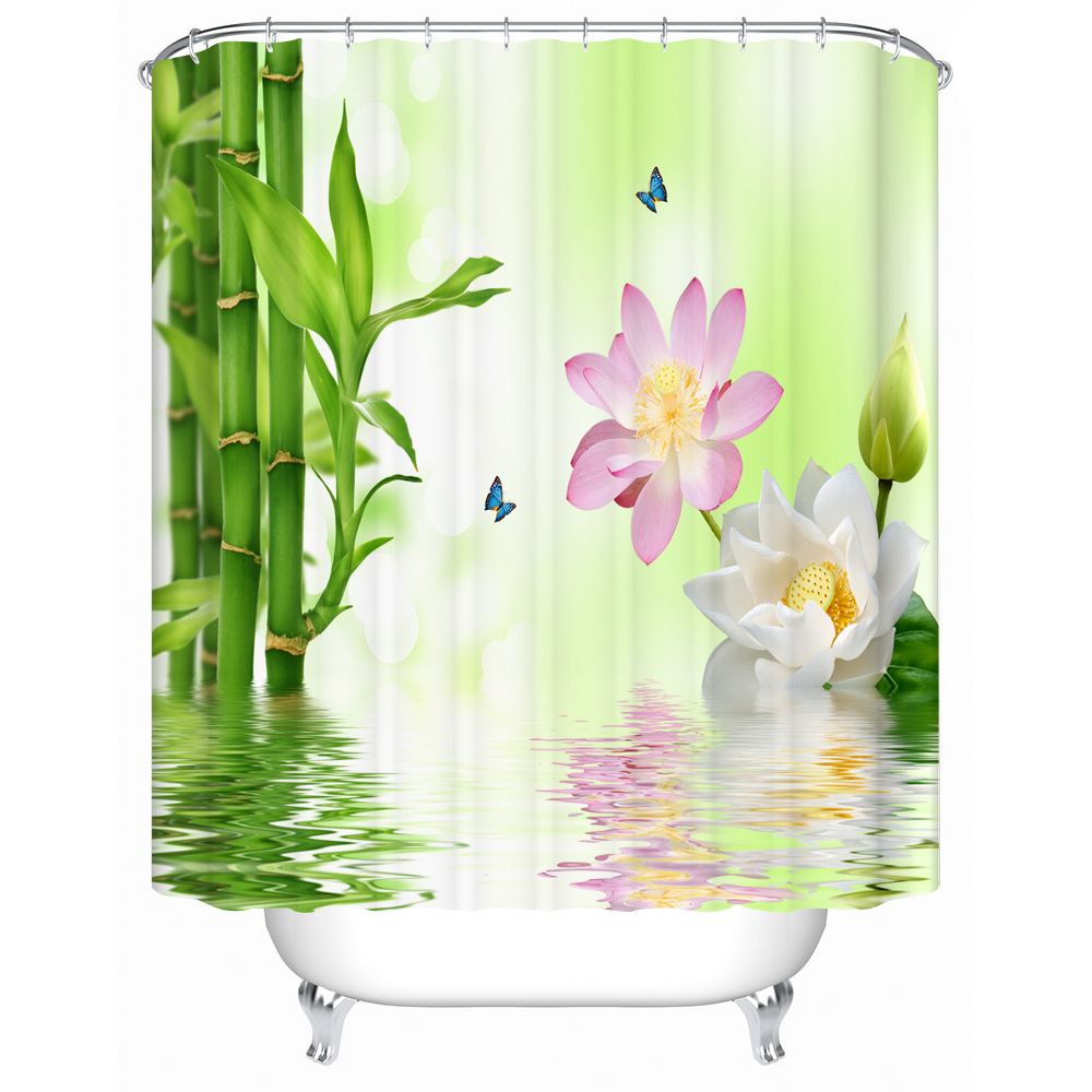 Bamboo shower curtain - Bamboo Shower Curtain Red Pink Floral Pattern Design 3d Printing Polyester Bathroom Curtain Waterproof Material