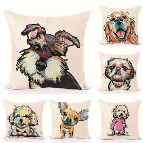 """18/"""" Dog Linen Decor Cotton Throw Pillow Case Sofa Cushion Cover Car Pillowcases"""