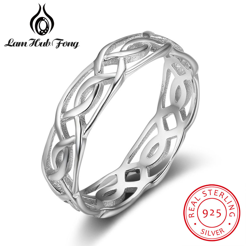 Trendy 100% <font><b>Real</b></font> <font><b>925</b></font> Sterling Silver Size <font><b>Rings</b></font> <font><b>for</b></font> <font><b>Women</b></font> Female Twisted Woven Design Finger <font><b>Ring</b></font> Jewelry Gift (Lam Hub Fong) image