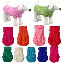 Puppy Cat PetWarm Sweater Pet Dog Dog Clothes Knit Winter Apparel Dog 8 Color 2 Size Solid Dog Coats Jackets