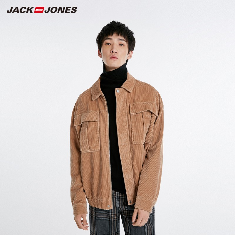 Мужская Вельветовая куртка JackJones, с отворотом, на осень, 218321563
