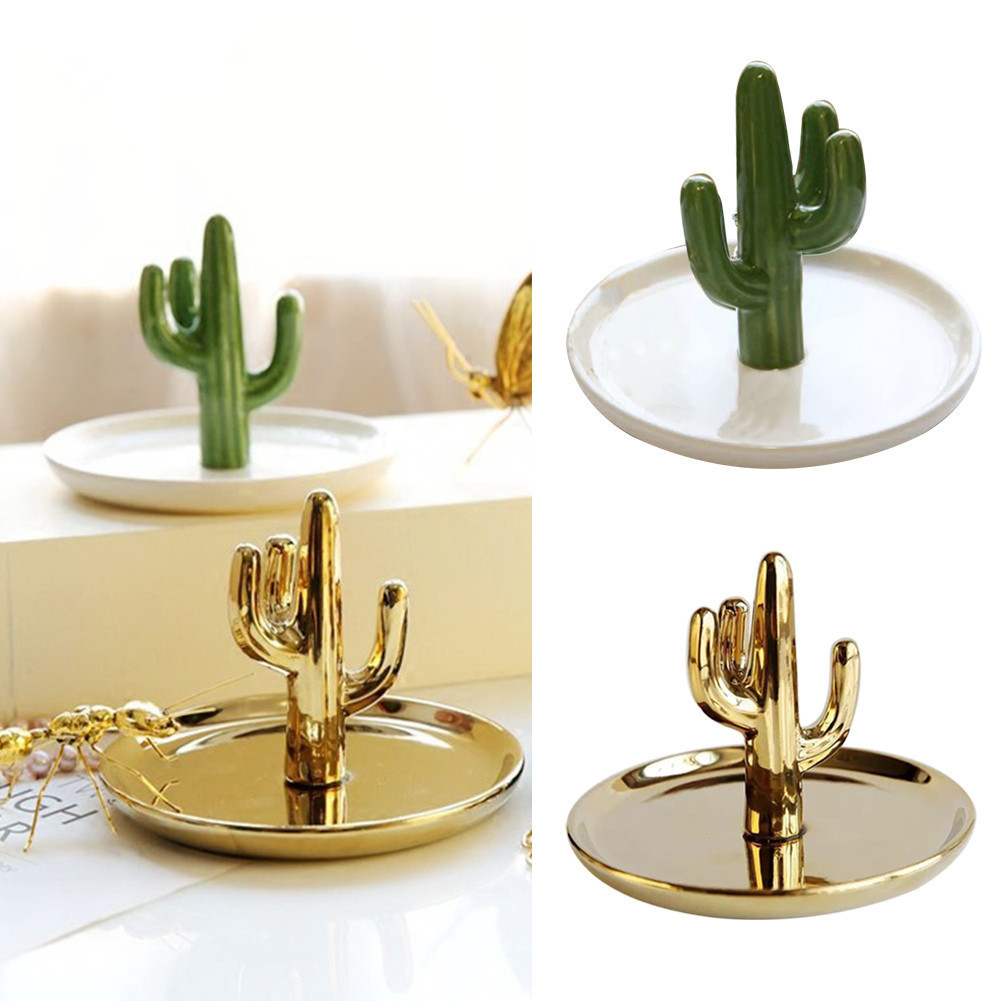 Nordic Cactus Shaped Jewelry Display Stand Dish Accessories Holder Trinket Plant Dish Ring Storage Tray INS Home Decoration